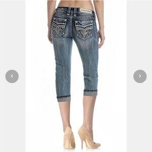 NEW Rock Revival Boris capri jeans distressed